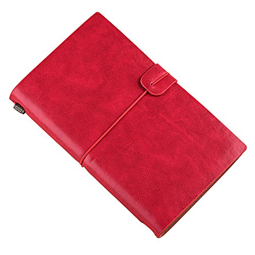 MODANA Handmade Leather Notebook Refillable Travel Journal with 18 Card Slots and 1 PVC Zipper Pocket Perfect for Men or Women, Writing, Poets, Travelers,as a Diary (Red)