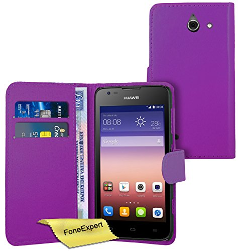 FoneExpert® Wallet Hülle Flip Cover Hüllen Etui Ledertasche Lederhülle Premium Schutzhülle für Huawei Ascend Y550 + Bildschirmschutzfolie (Lila)