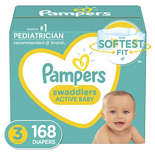 Pampers Swaddlers Disposable Diapers Size 3, 168 Count, ONE MONTH SUPPLY (Packaging...