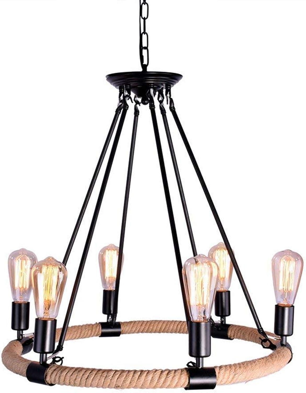OYI Hanfseil Kronleuchter 6-Flammige Vintage Pendelleuchte Hngelampe E27 Lampenfassung Rund für Wohnzimmer Esszimmer Esstisch Restaurant Bar