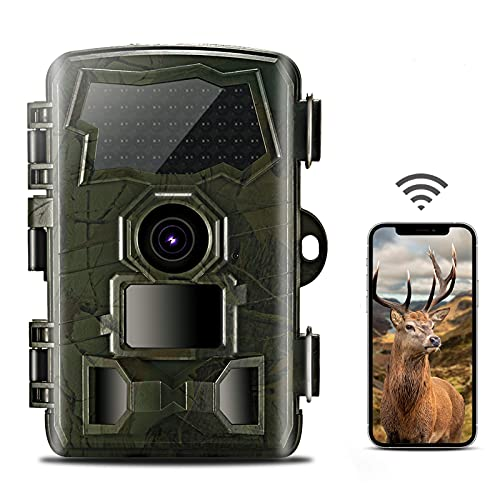 HUDAKWA WiFi Trail Camera 20MP 4K, Game Hunting Camera with IR Night Vision Motion Activated Waterproof Outdoor Wildlife Monitoring Send Picture to Cell Phone, 32GB TF Card Included
