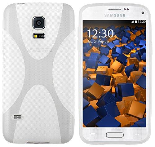 mumbi X-TPU Funda compatible con Samsung Galaxy S5 mini, blanco claro