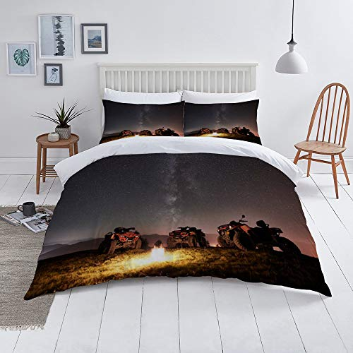 Duvet Cover Set-Bedding,Atv Quad Motorbikes In The Mountains Under Night Starry Sky,Quilt Cover Bedlinen-Microfibre 140x200cm with 2 Pillowcase 50x80cm