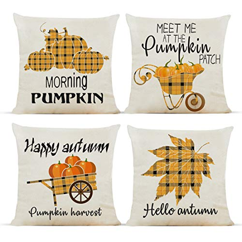 Diateklity Fall Buffalo Plaid Truck Throw Pillow Covers 18x18 Inches 4 Pcs Farmhouse Decoration for Couch Sofa Patio Cotton Linen Pillowcases