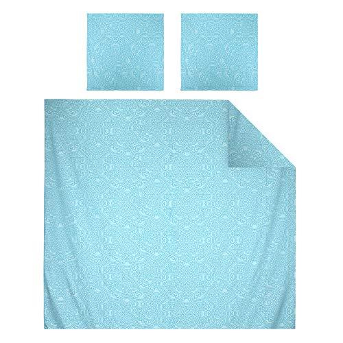 Linnea Parure de lit 300x240 cm Satin de Coton Pantheon Bleu Clair