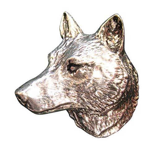 Brazil Lederwaren Ansteckpin Wolf Kopf | für den Hut oder das Revers | Perfekt zum Jagd-Outfit | Anstecker Pin Button | Altsilber