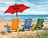 DIY Paint by Numbers, Canvas Oil Painting Kit for Kids & Adults, 16' W x 20' L Drawing Paintwork with Paintbrushes, Acrylic Pigment-Beach Chair (Beach, 16 x 20)