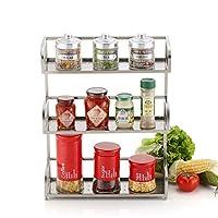キッチンスパイスラック、3段調味料ストレージは、ステンレス鋼の立ち調味料ホルダーキッチンオーガナイザーボトル棚ラック
