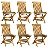 Tidyard Gartenstühle mit Grauen Kissen 6 STK. Gartensessel Stuhlset Holzstühlen Gartenmöbel...