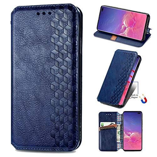 Miagon Samsung Galaxy S9+ Mode Hülle,Retro PU Leder Flip Brieftasche Abdeckung Magnetverschluss Folio Ständer Kartensteckplätze Handyhülle,Blau
