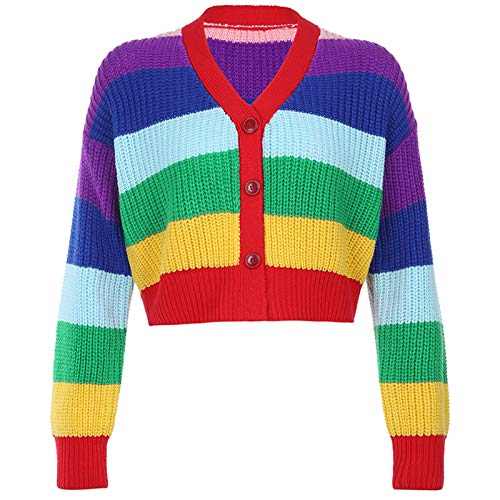 karrychen Women Long Sleeve Rainbow Stripes Knit Cardigan V-Neck Buttons Cropped Sweater- L#