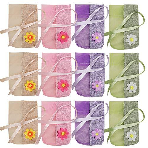 Geila 12 Stück Sachet Leere Taschen Polyester Baumwolle Leinen Beutel für Lavendel, Gewürz und Kräuter (12 Stück) (Set C)