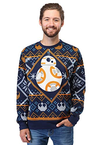 Star Wars BB8 Navy Ugly Christmas Sweater - L
