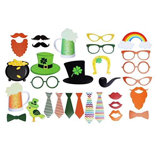 VALICLUD 31 Piezas Día de San Patricio Accesorios de Cabina de Fotos Sombrero de Trébol Divertido Gafas Sombrero de Duende Gafas Bigote Falso Pajarita Kits de Cosplay para Favores de