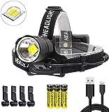 ShineTool Lampe Frontale LED Super Brillante 20000 Lumens, 3 Modes IPX4 Lampe Frontale LED USB Rechargeables pour Camping, équitation, Course, Pêche, Réparation Automobile