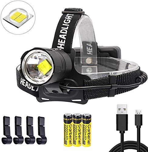 ShineTool Linterna Frontal LED Alta Potencia 10000 Lúmenes, XHP70 Recargable USB 3 Modos Zoomable Linterna Frontal Impermeable con Batería para Interiores y Exteriores