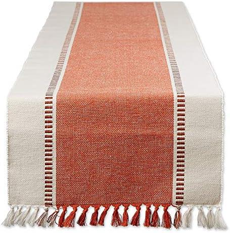 DII Dobby Stripe Woven Table Runner 13x72 Burnt Orange product image