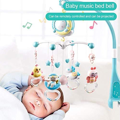 UNBQ Cuna móvil con proyector y Luces, sonajero Giratorio para Colgar Juguetes para bebés y Caja de música con Control Remoto para recién Nacidos