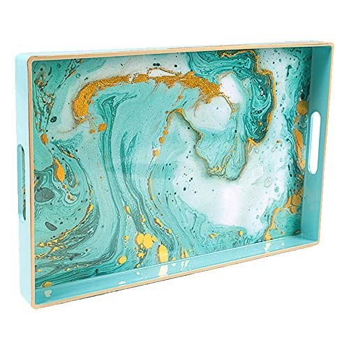 """MAONAME Plastic Decorative Tray, Rectangular Marbling Tray with Handles, Coffee Table Serving Tray for Ottoman, Bathroom, Storage 