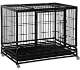 Dog Crate Cage for Large Dogs Heavy Duty 48 Inches Dog Kennel Pet Playpen for Training Indoor Outdoor with Plastic Tray Double Doors & Locks Design