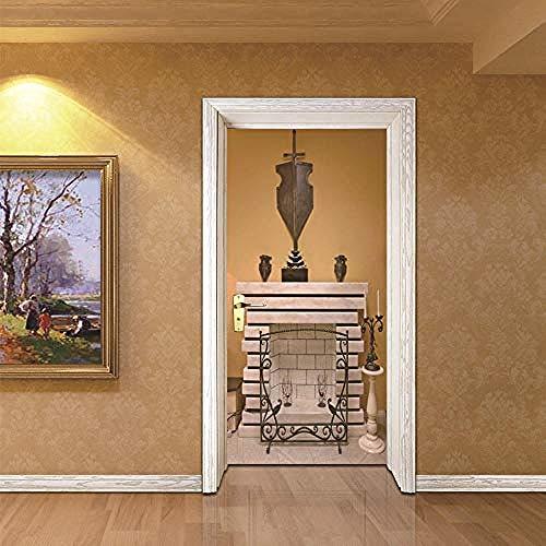 Deursticker DIY deur sticker sticker Europese stijl klassieke open haard deur waterdichte muurtattoos voor kinderen slaapkamer woonhuis showroom 77X200 cm