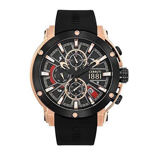 Cerruti CRA28603 - Orologio da uomo, multifunzione, in silicone, colore: Nero