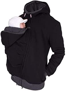 Per 2 in 1 Multi-Function Kangaroo Hooded Dad Men's Sweater with Baby Carrier Pocket Men's Fleece for Daddy