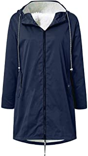 🍒 Spring color 🍒 Plus Size Womens Lightweight Hooded Waterproof Active Outdoor Rain Jacket with Cotton Lining S-5Xl