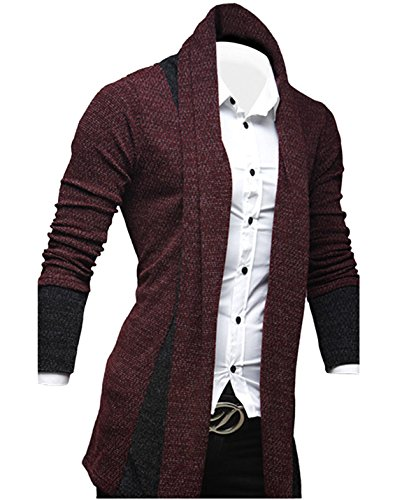 Tom's Ware Mens Classic Fashion Marled Open-Front Shawl Collar Cardigan TWGG1308-WINE-US XL