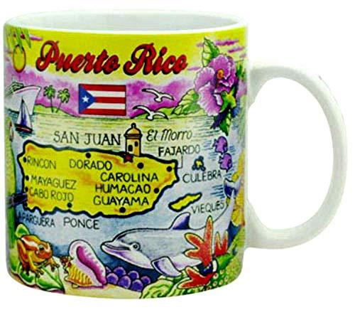 Puerto Rico Map Caribbean Souvenir Collectible Large Coffee Mug (4'H x 3.75'D) 16oz