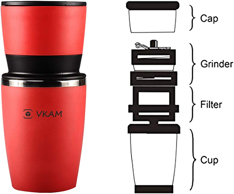 Manual Coffee Grinder Portable Integrated Grinder Red Office Travel Coffee Machine Stainless Steel Adjustable Ceramic Grinder Holiday Gift