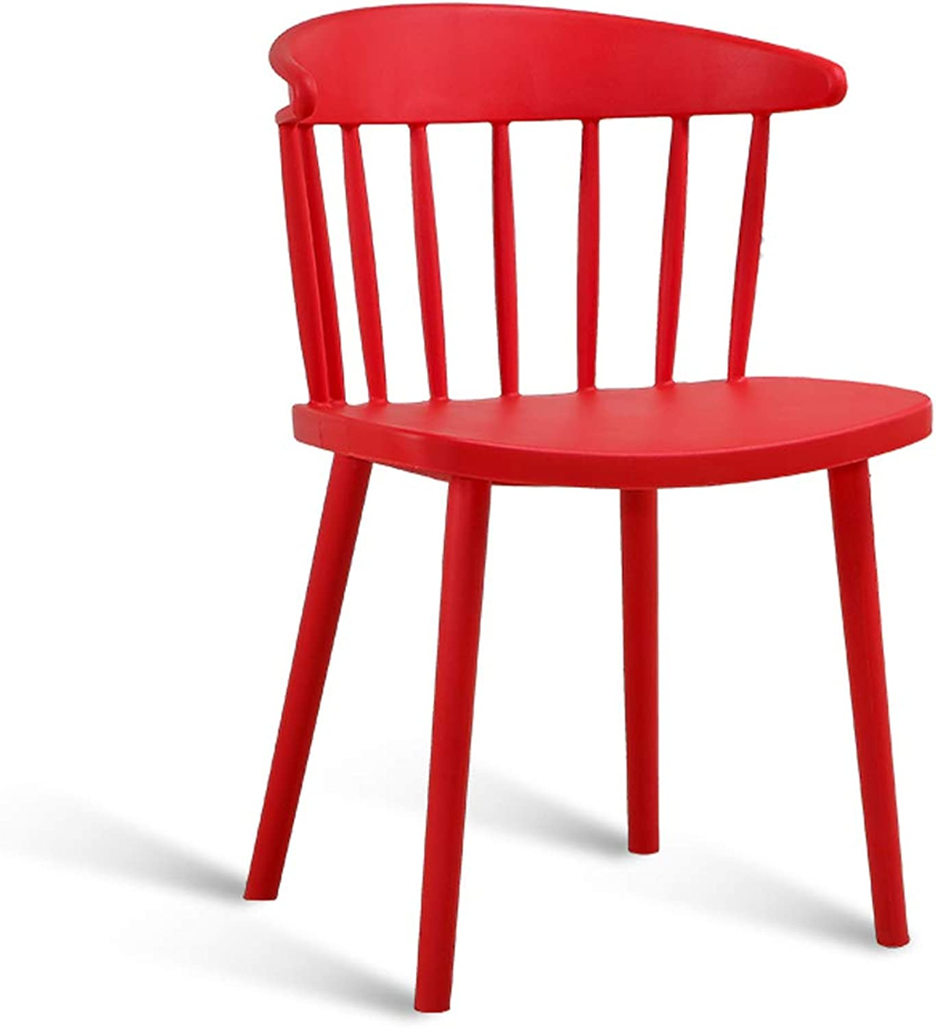 LRW Modern Minimalist Dining Chair, Home Desk Chair, Plastic Backrest Leisure Chair, American Cafe Chair, Red