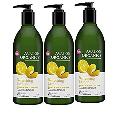 Avalon Organics Lemon Hand and Body Lotion, 12 Ounce - 3 per case.