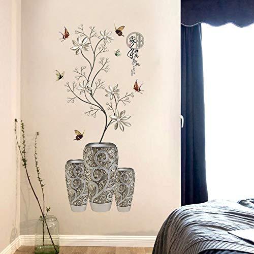 Qingany wandstickers, zelfklevend, Chinese stijl, modern, muurstickers, zilverkleurig, wit, vaas met bloem, vlinder, decoratie, DIY