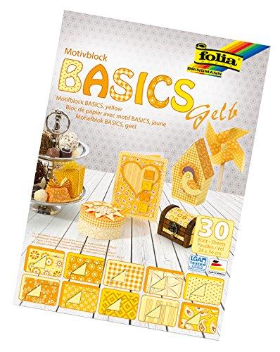 folia 46149 - Motivblock Basics gelb sortiert, 24 x 34 cm, 30 Blatt, 10 x Motivkarton, 10 x Motivpapier, 10 x Tonpapier, für vielfältige Bastelarbeiten