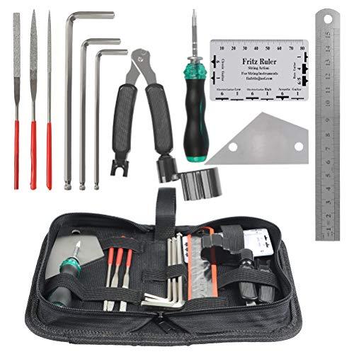 YANSHON 11 Stück Gitarren Reparaturswerkzeug Set Reinigungswerkzeug Kit mit Tragbare Tasche für Mandoline/Banjo/E-Gitarre/Bass/Akustikgitarre