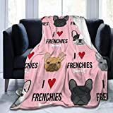 wusond Amo los Bulldogs franceses, Color Rosa, Personalizado, Ligero, cálido, Ultra Suave, de Microfibra, Manta para Todas Las Estaciones, 50'x 40'