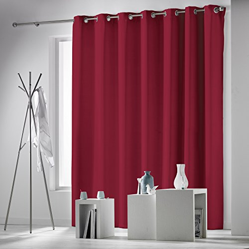 douceur d'intérieur rideau a oeillets 280x260 cm occultant occulteo rouge