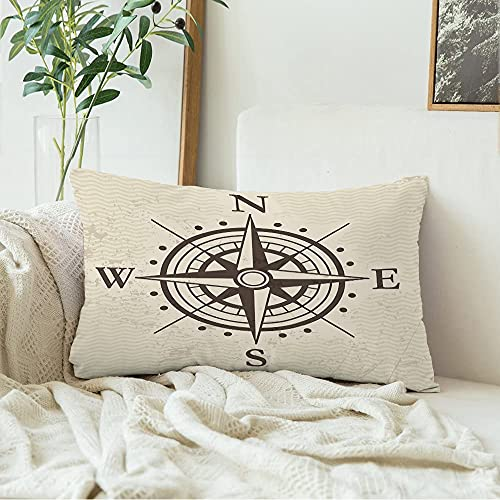 Decorative Velvet Pillow Cover Wind Direction Rose Travel Geography East Map Signs Symbols Meridian Treasure Vintage Round Arrow Throw Pillow Cover Rectangle Cushion Case 12x20 Inch for Couch Bed Car