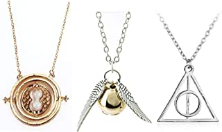 3 Piece Harry Potter INSPIRED Jewelry Set-Gold Time Tunrer Sintch and Sliver Roalting Deathy Hollows Necklace set for Kids Collection Kit