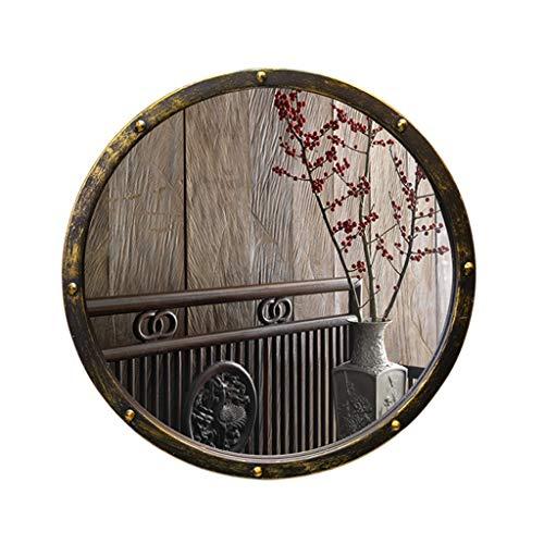 Xing Hua home Spiegelwandspiegel Badezimmerspiegel Retro- schmiedeeiserner Badezimmerspiegel runder Portalspiegel runder Spiegel dekorativer Spiegel (Color : Brass, Size : 50 * 50 * 5cm)