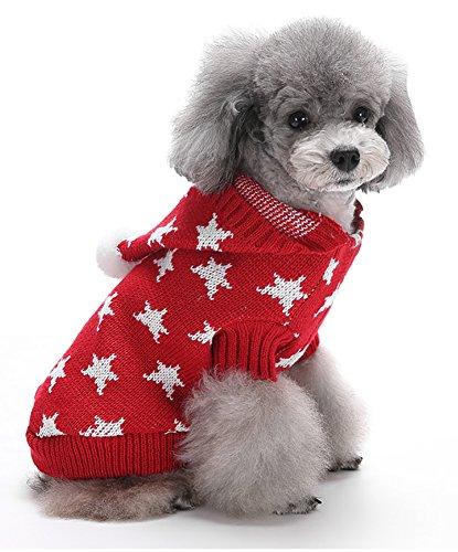 (マルペット)MaruPet 誕生日 聖夜 秋冬 ペットウェア犬服猫服 おしゃれ ペットウェア ドッグウエア 帽子付き 小型犬用品 かわいい犬の服 ニットセーター トイプードル/ダックス/マルチーズ/シュナウザー/シーズー等の小型犬 レッド XL
