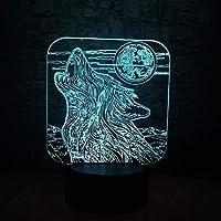 フルムーンナイトウルフ3DLEDランプUSBタッチテーブルナイトライトマルチカラー溶岩RGB照明クリスマスギフト