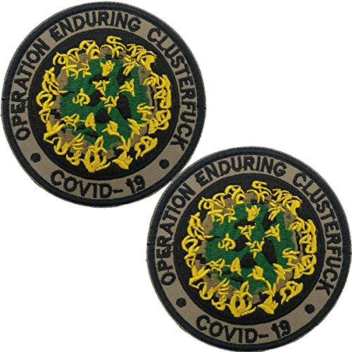 Operation Enduring Clusterfck COVID-19 Embroidered Patch - Emblem Tactical Military Morale Funny Patches Badges Appliques with Fastener Hook and Loop Backing 3.15 Inch 2 Pieces (d)