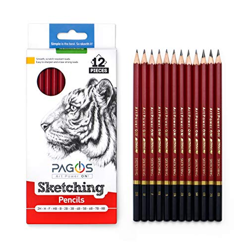 Pagos Sketching Pencils – Professional Graphite Pencil Set for Drawing – 2H, H, F, HB, B, 2B, 3B, 4B, 5B, 6B, 7B, 8B Art Travel Set - Shading Pencils, Drawing and Art Supplies, Sketching Set 12 Pieces