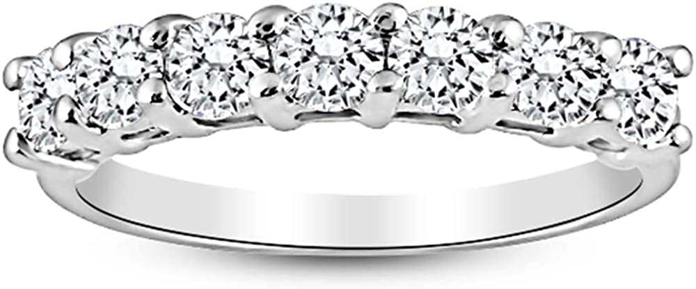 1/2 Carat 14K White Gold Round 7-Stone Diamond Wedding Anniversary Stackable Ring Band Value Collection
