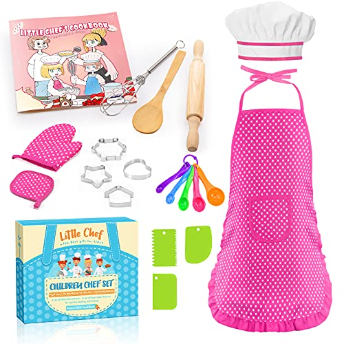 Kids Apron for Girls Stocking Stuffers Gifts for 2-6 Year Old Girls Boys, 20Pcs Kids Cooking Set, Toddler Apron for Kids Chef Hat and Apron Xmas Birthday Gifts Cooking Toys for Kids Age 2-6 Pink