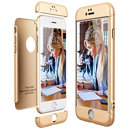Funda 3 en 1 compatible con iPhone 6S, de plástico, ultraligera, de policarbonato, resistente a los arañazos, anticaídas, protección contra golpes, rígida, adecuada para niñas dorado Talla única