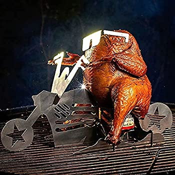 baigald Portable Chicken Stand,Stainless Steel Beer American Style Motorcycle BBQ Grill with Glasses,Beer Can Chicken Grill Rack Oven Cooking Utensils Indoor Outdoor Use