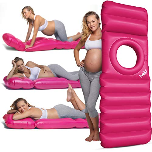 HOLO The Original Inflatable Pregnancy Pillow, Pregnancy Bed + Maternity Raft Float with a Hole to Lie on Your Stomach During Pregnancy, Safe for Land + Water, Pink